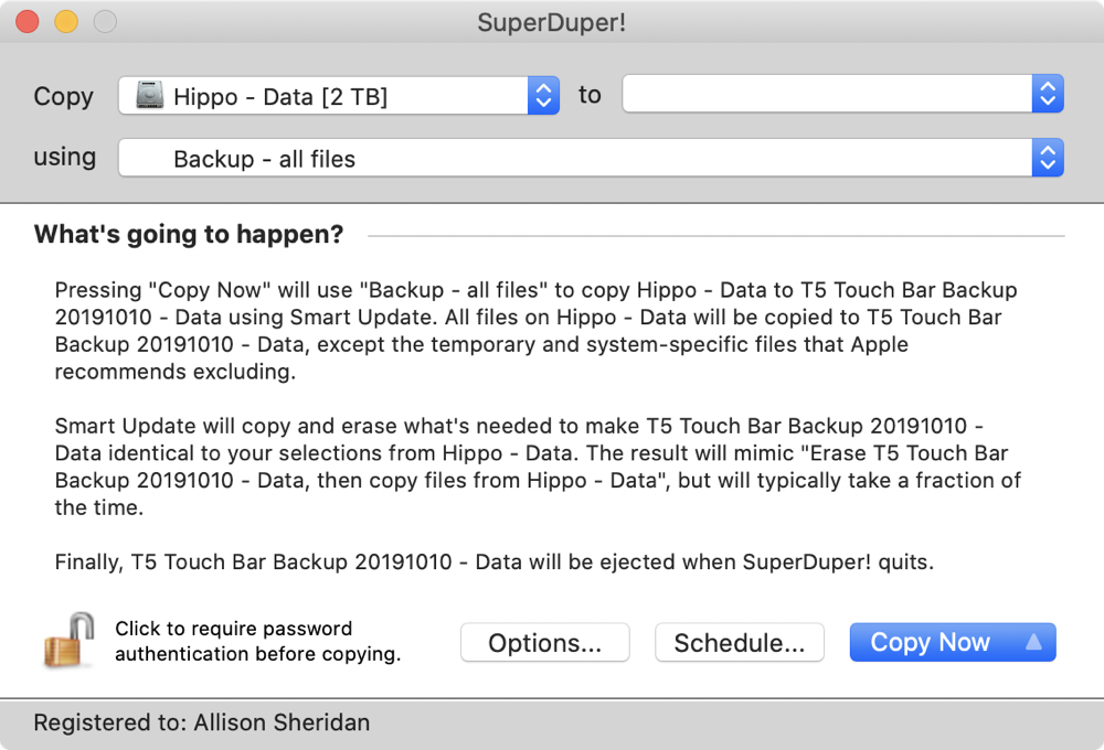 SuperDuper main interface