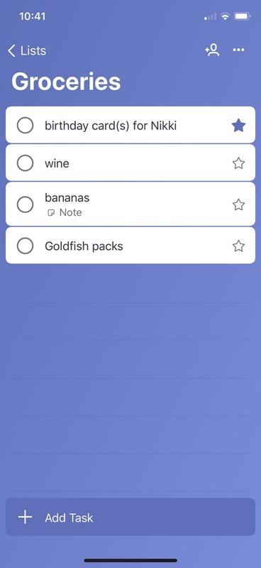 Microsoft To Do Grocery List