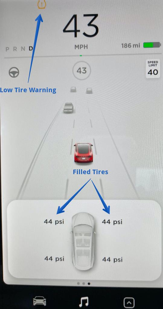 Tesla tire warning