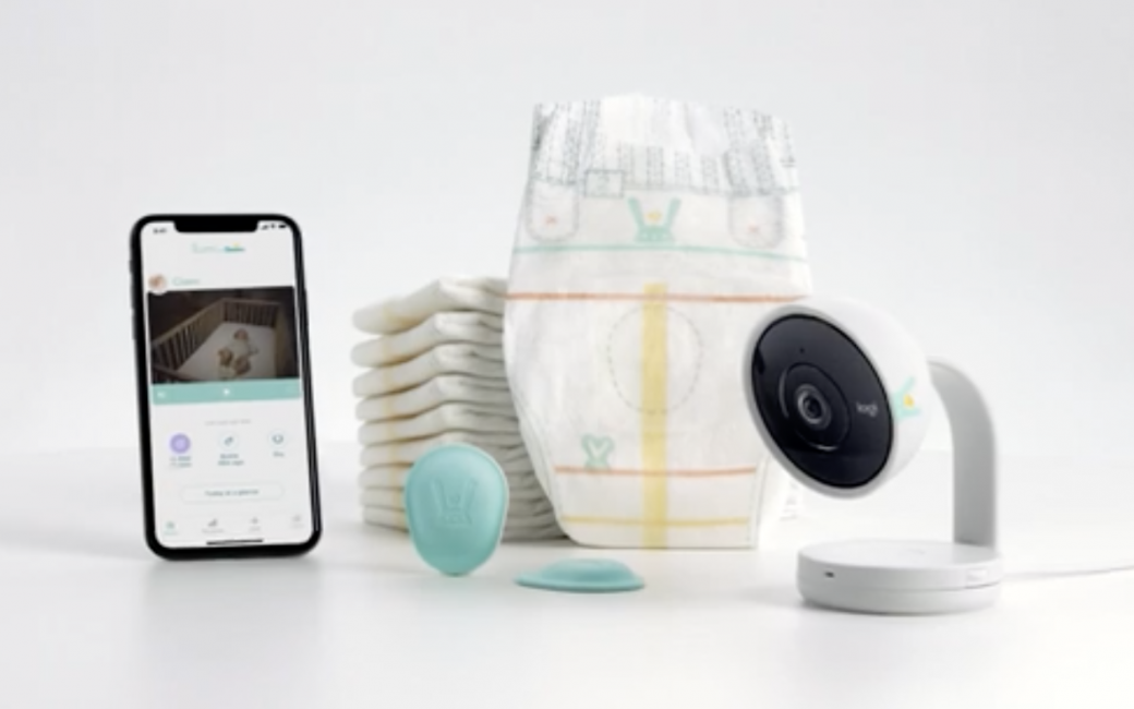 Lumi System Showing Diaper, Activity Monitor, Baby Cam, and Mobile App