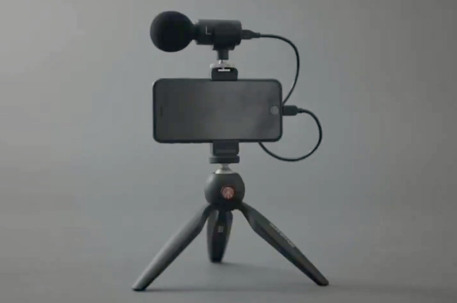 Shure MV88+ Video Kit Including Microphone, Tripod, and iPhone all attached to Portable Tripod