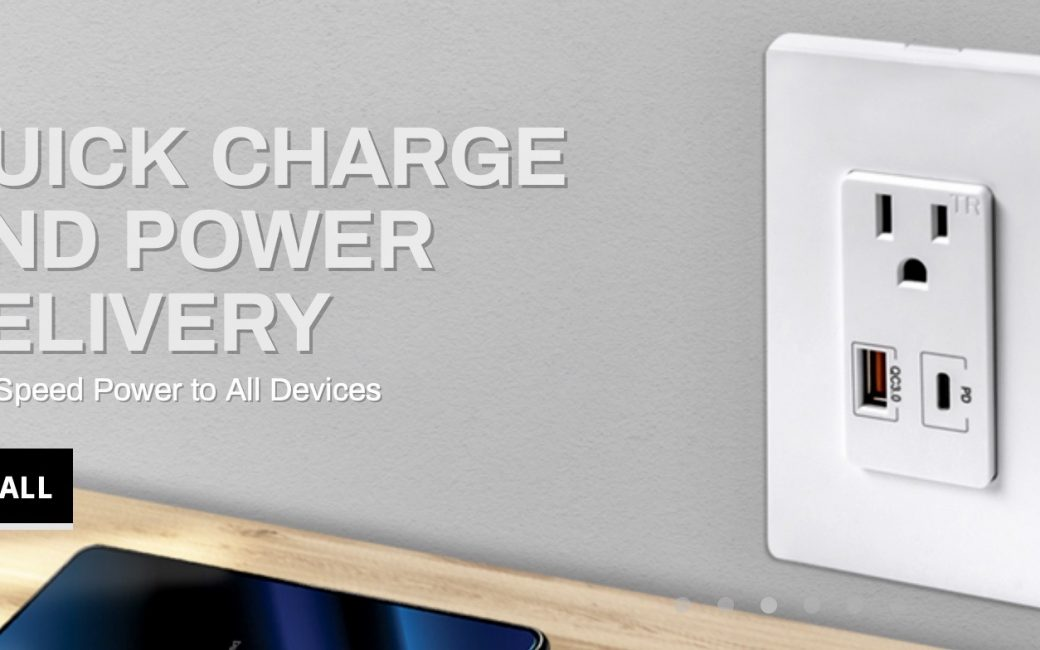 Top Greener In-Wall Outlet with One 3.0 USB-A and One USB-C PD Port and Two A/C Outlets
