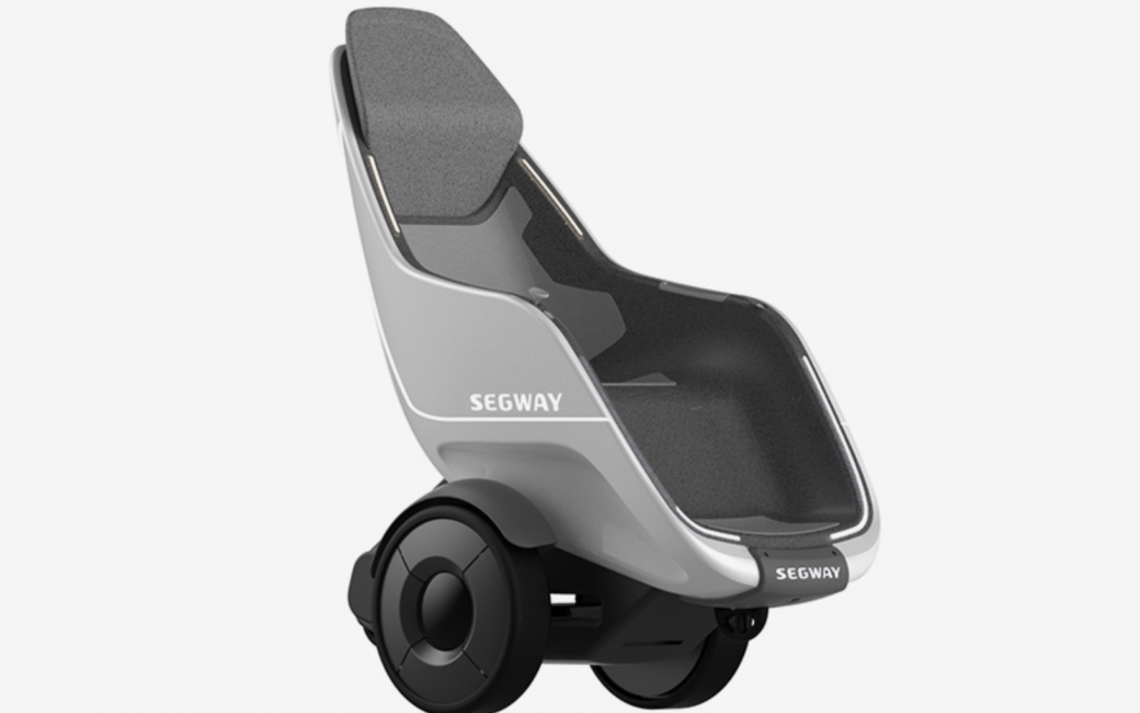 Sideview of the Segway S-Pod personal transportation vehicle