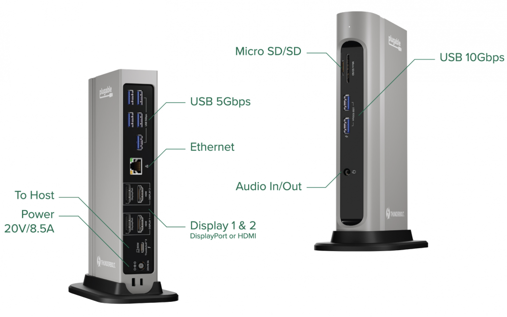 Plugable Dock showing ports on front and back side