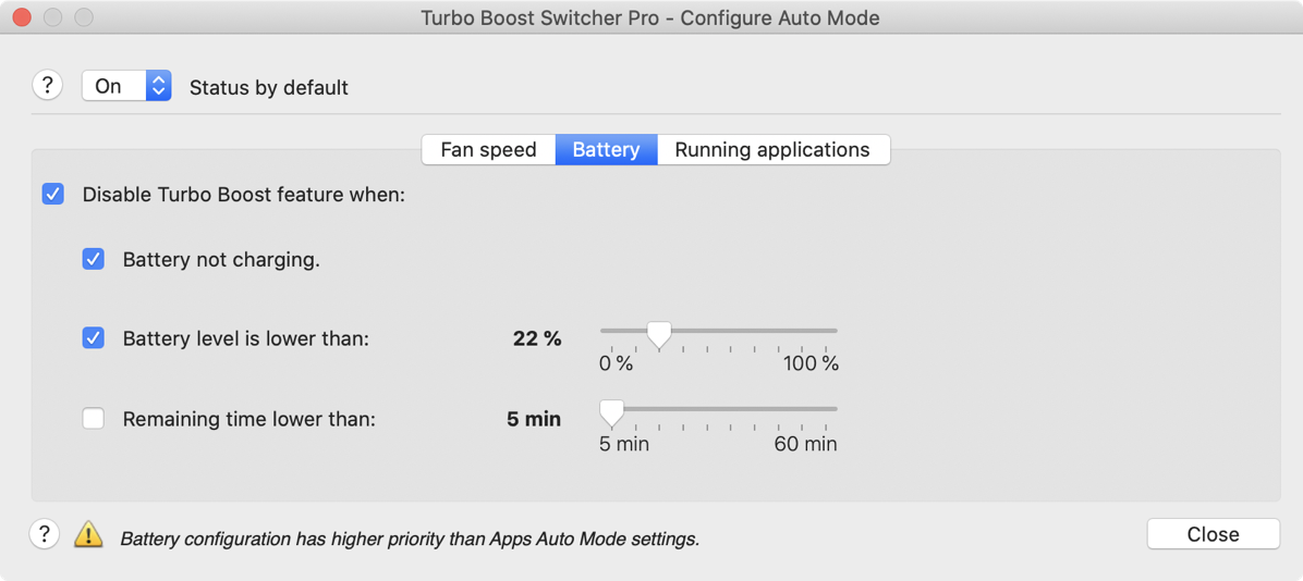 Turbo boost switcher battery mode options