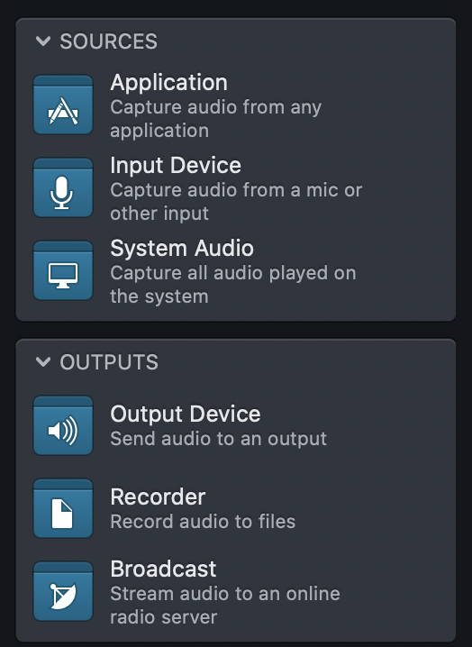 Audio Hijack sources and outputs