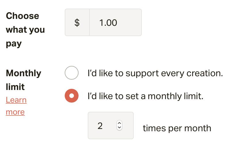 Patreon pledge per month