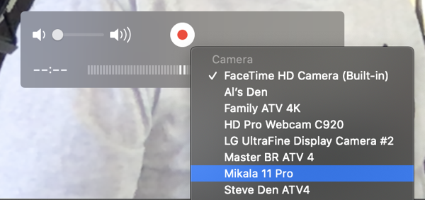 QuickTime using iPhone as Video Source