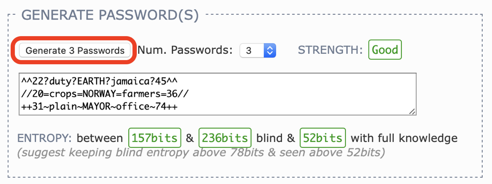 01 Generate 3 Passwords Button
