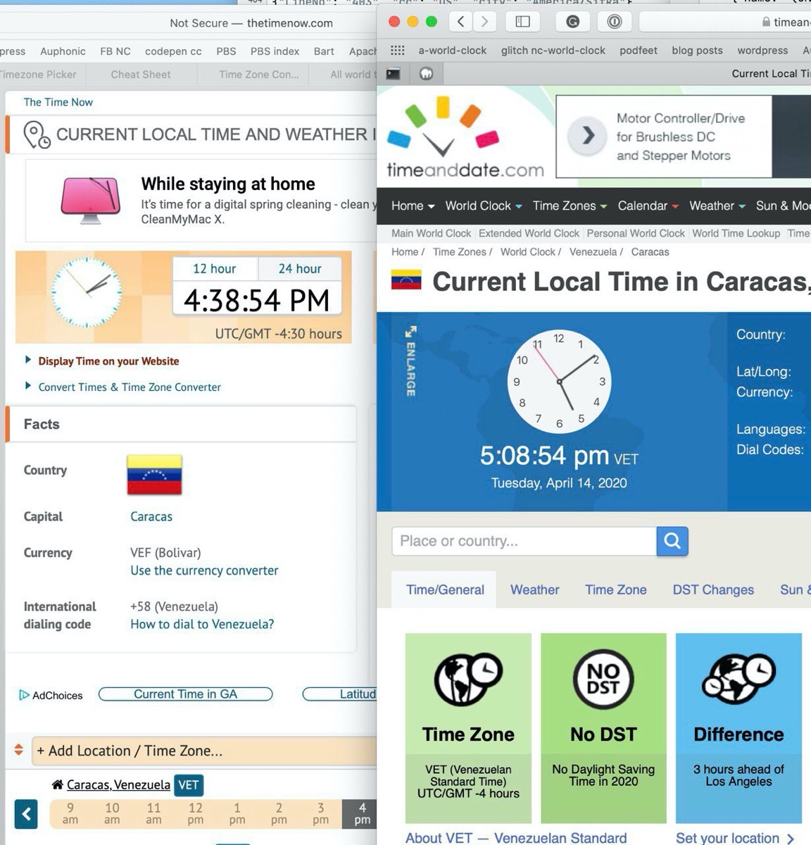 Caracas in different timezones on two different websites
