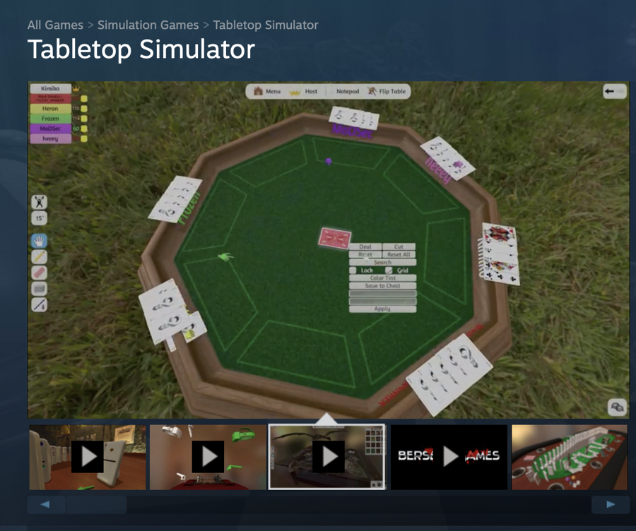 Table Top Simulator showing a card game