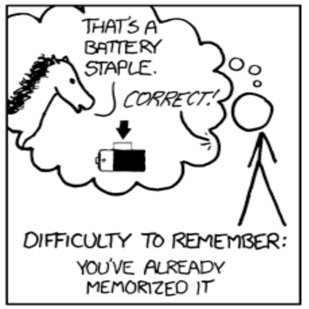 Partial Panel of XKCD cartoon showing correct horse battery staple