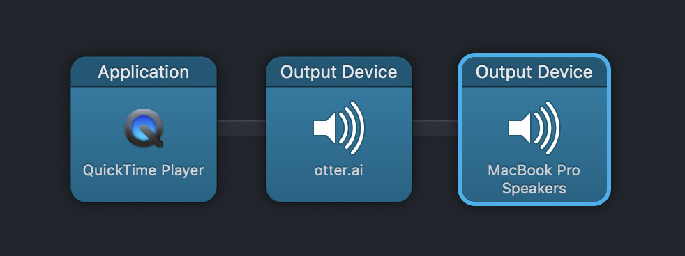 Audio Hijack with QuickTime input otter ai output plus speaker block