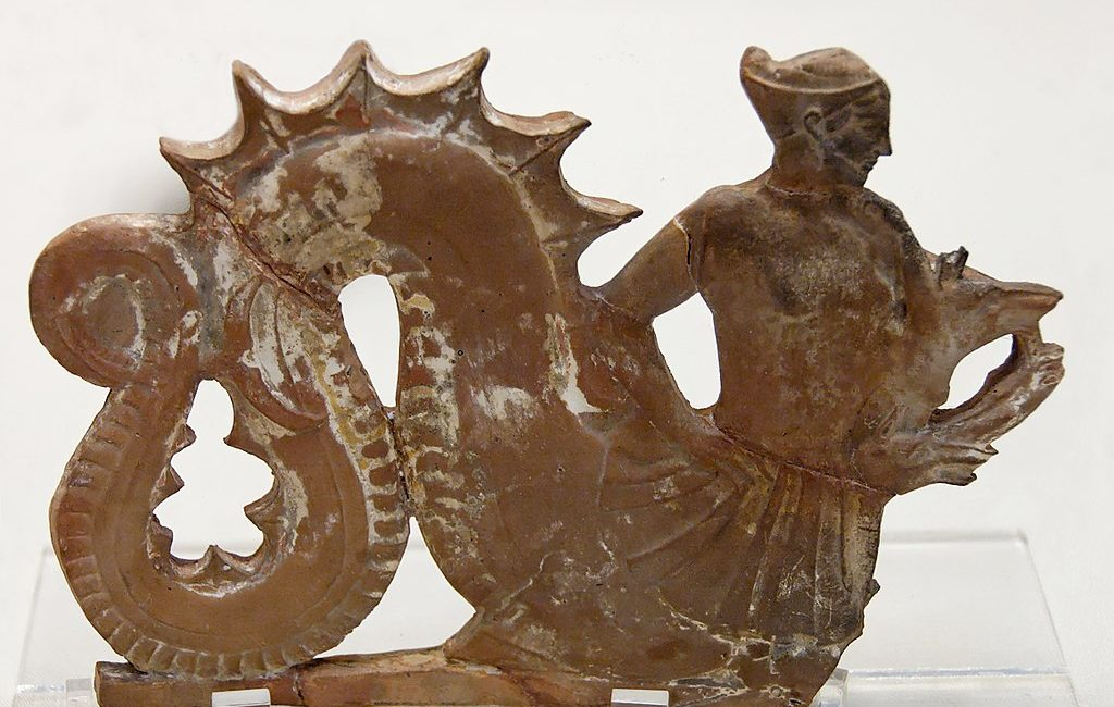 The sea-monster Skylla. Terracotta plaque, Melos, 460–450 BC