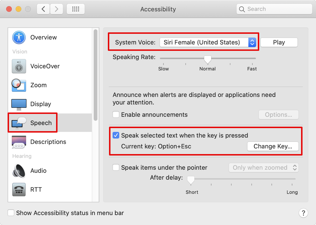 Accessibility Preference Pane Speeech