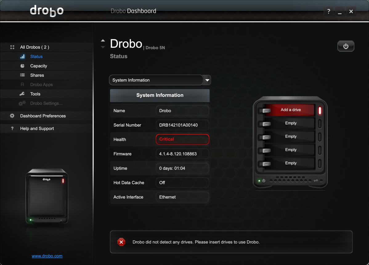 Dead Drobo from Dashboard
