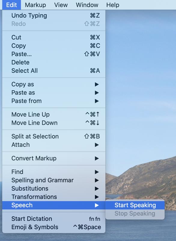 Edit Speech Start Speaking