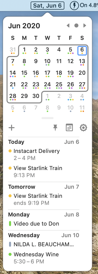 ItsyCal Calendar Dropdown