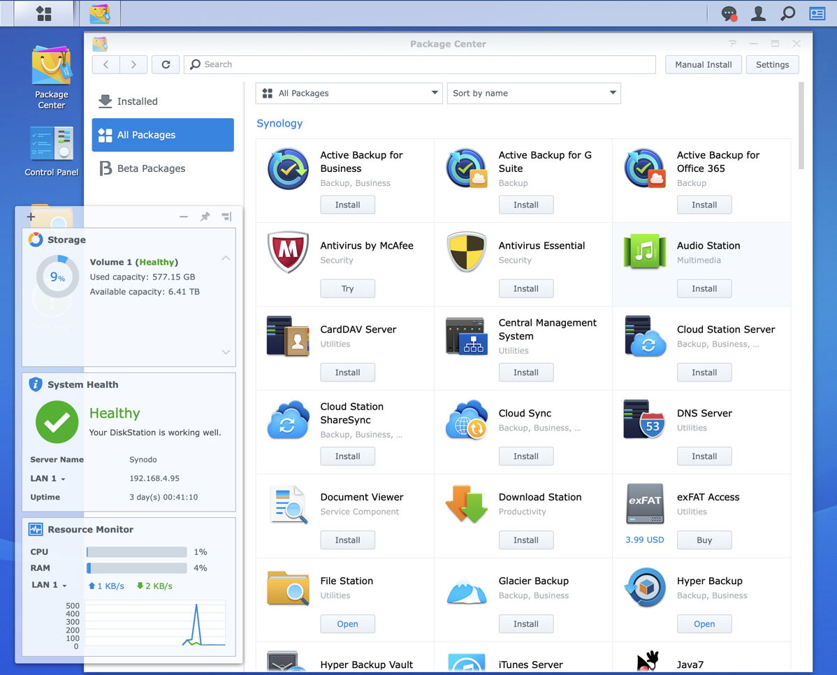 Synology Package Center showing apps and drive health on screen
