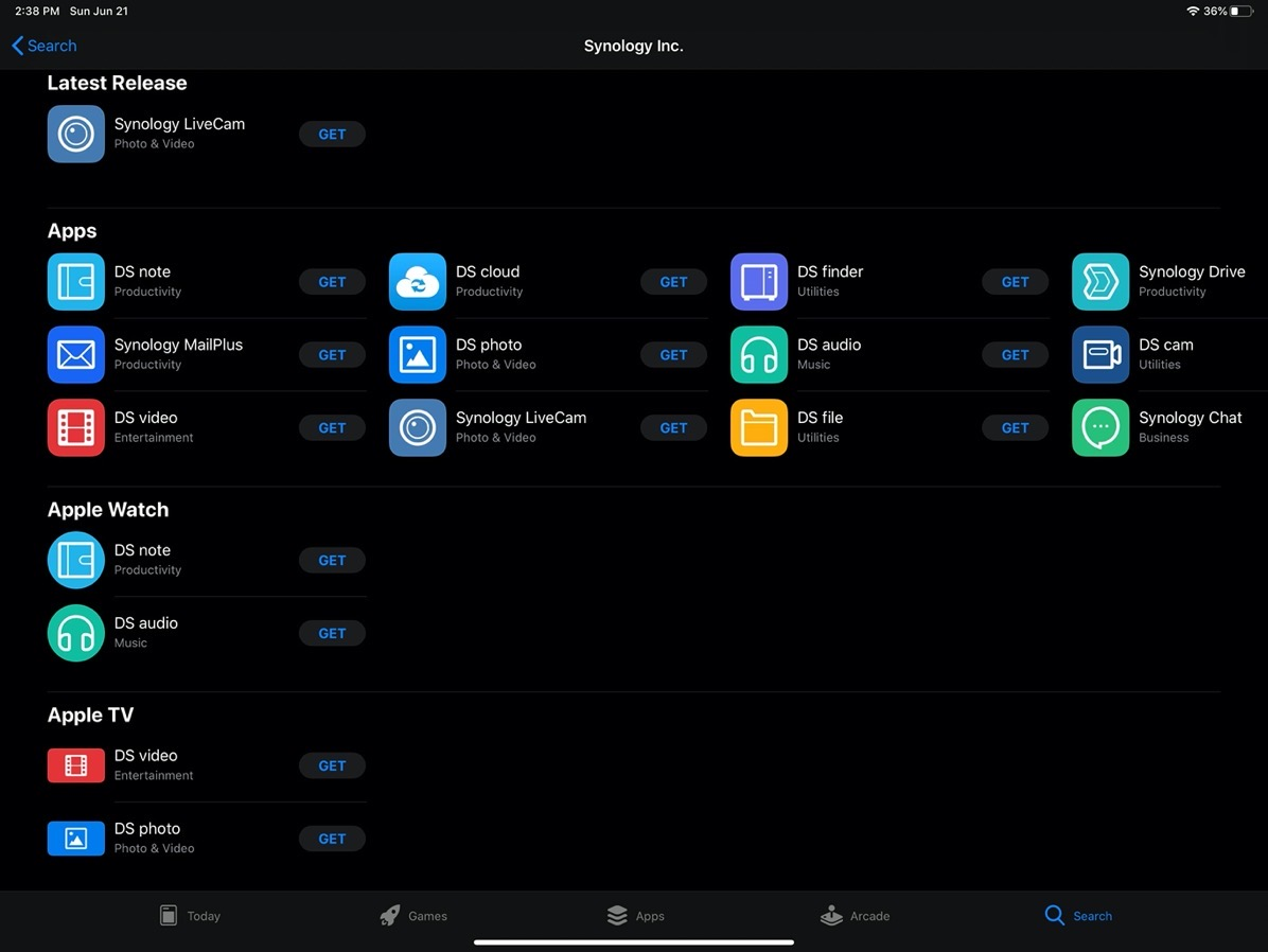 IOS Apps from Synology