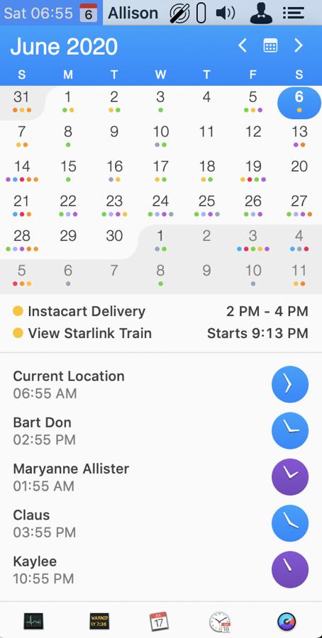 IStat Menus dropdown calendar