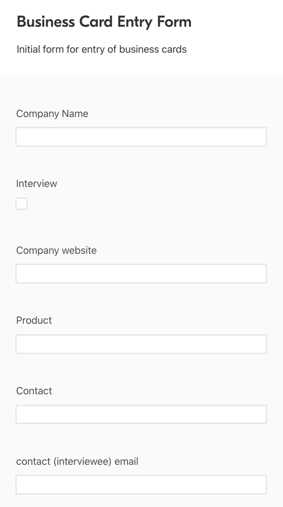 Airtable Business Card Entry Form
