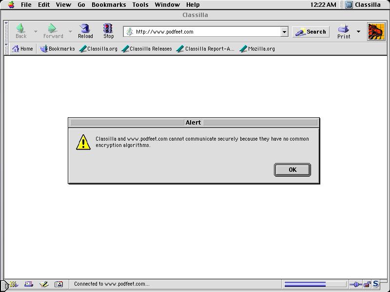 Podfeet Under OS9 fails with no common encryption algorithm