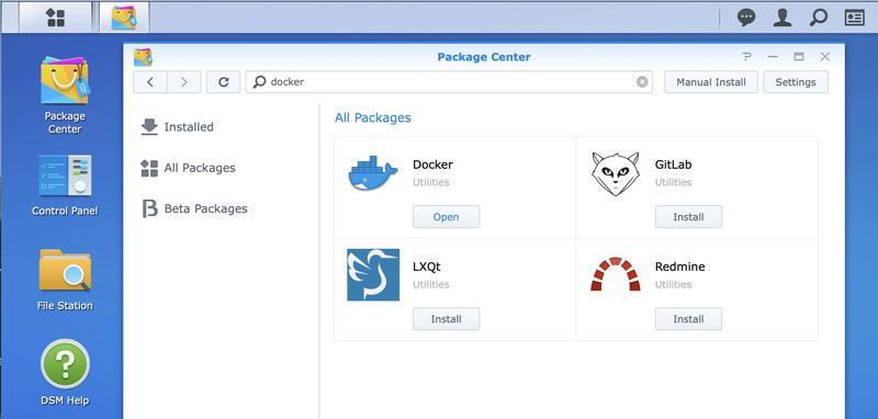 Docker Shown in Package Center