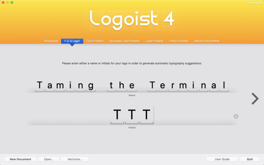 Logoist opening screen