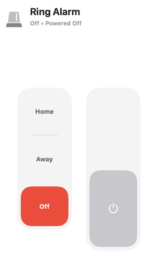 Ring alarm in HomeKit with Two Switches