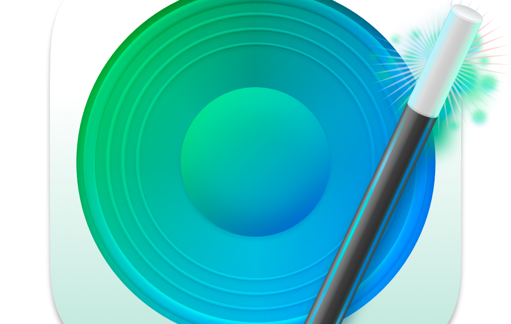 SoundSource logo bluegreen speaker with magic wand