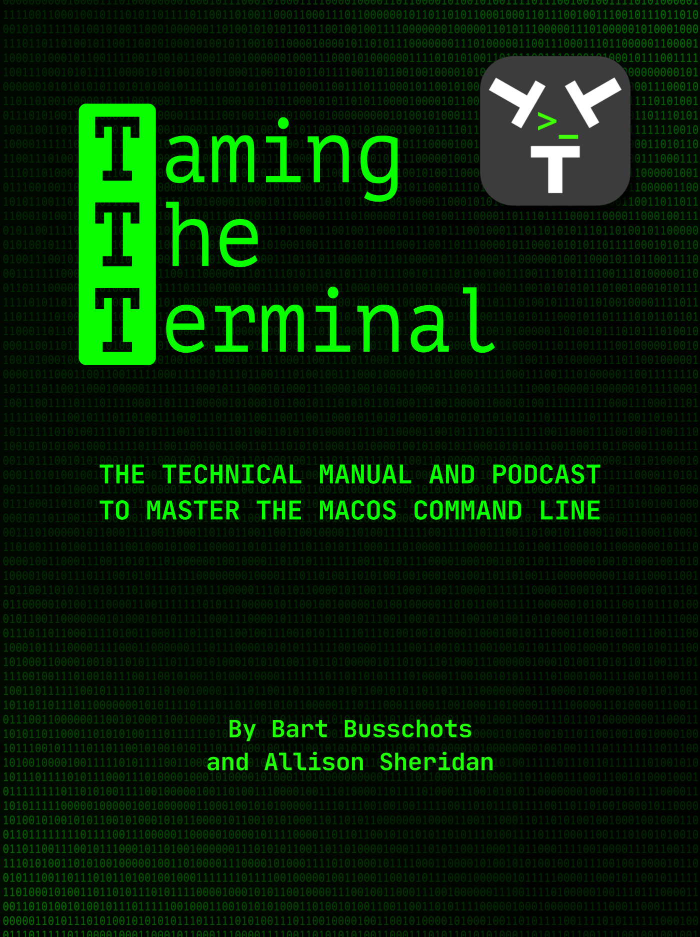 Taming the Terminal Book Cover with green 1s and 0s on black gradient and TTT logo, authors names