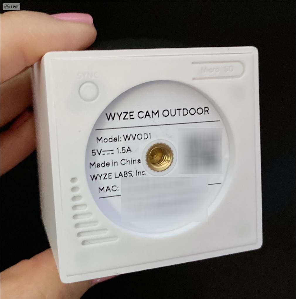 Wyze Cam Outdoor Bottom Thread Mount Sync microSD