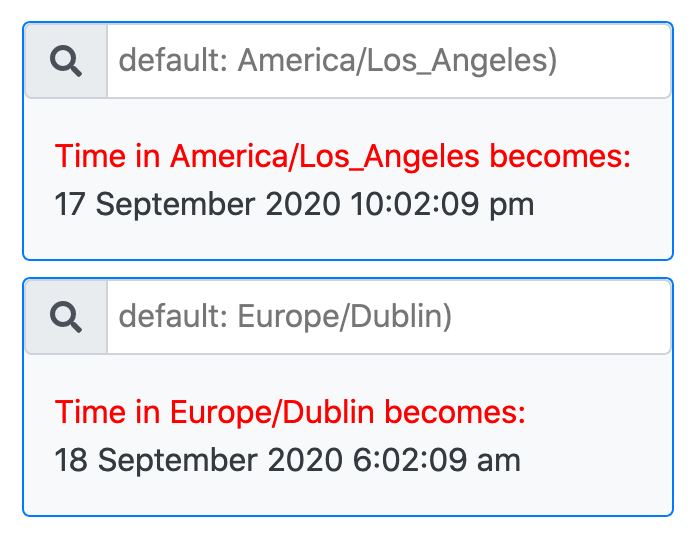 two clocks for two cities with a search bar for each to choose the cities