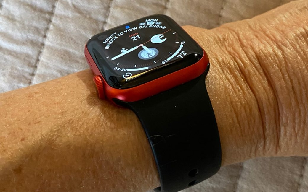 red Series 6 Apple Watch with black band