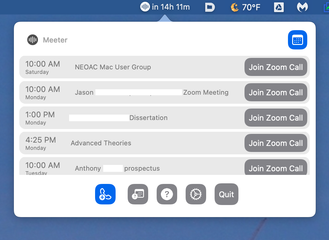 Dropdown showing 5 meetings with Join Zoom Call buttons