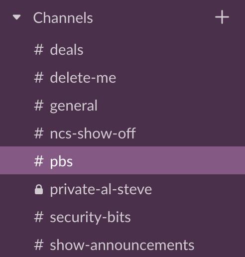 Slack Channels as described