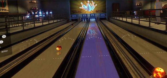 Virtual Bowling with a purple lane