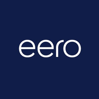 eero logo white sans serif letters on blue background