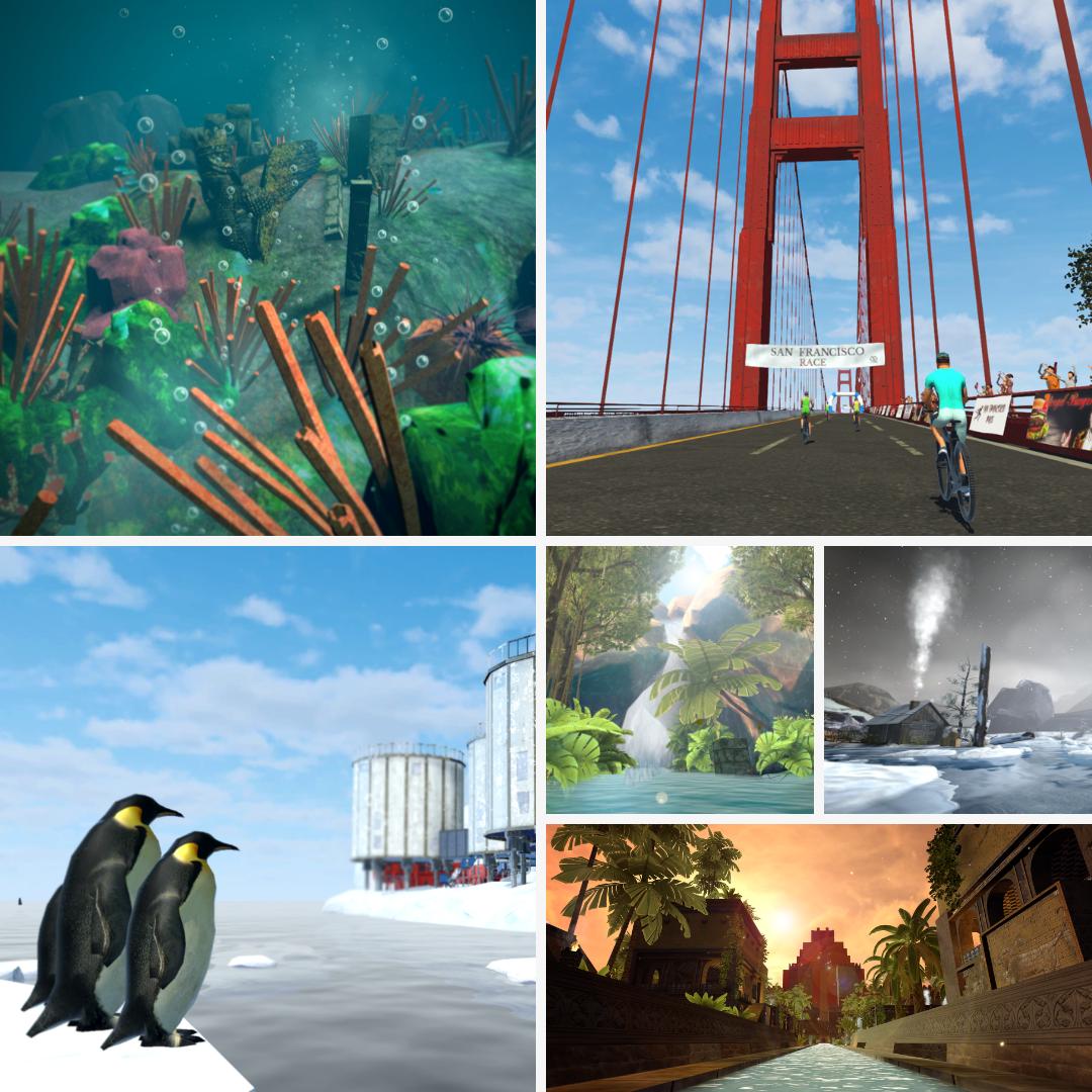 Holodia2 several panes: under water, penguins Golden Gate bridge