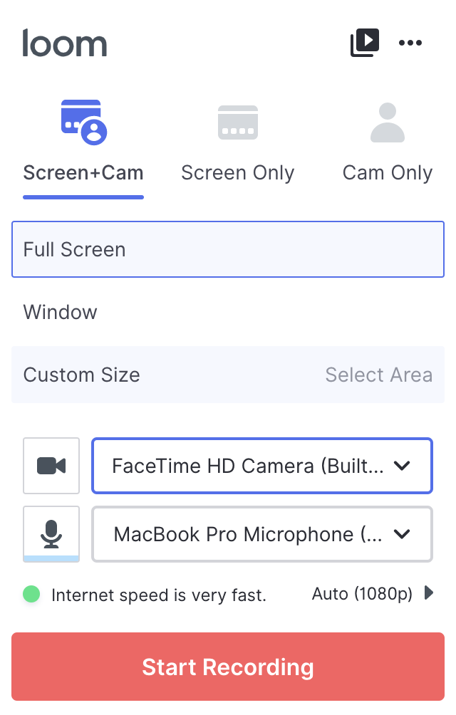 Screen + cam options