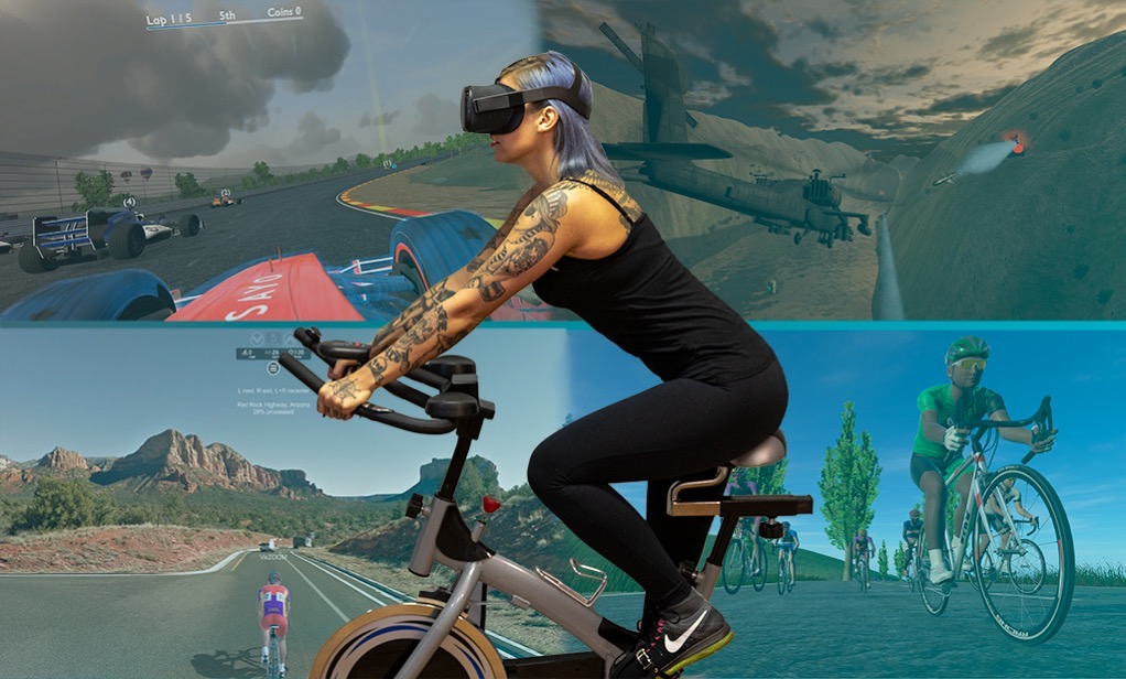 woman on stationary bike wearing headset with 4 scenes bhind her of mountains and other areas