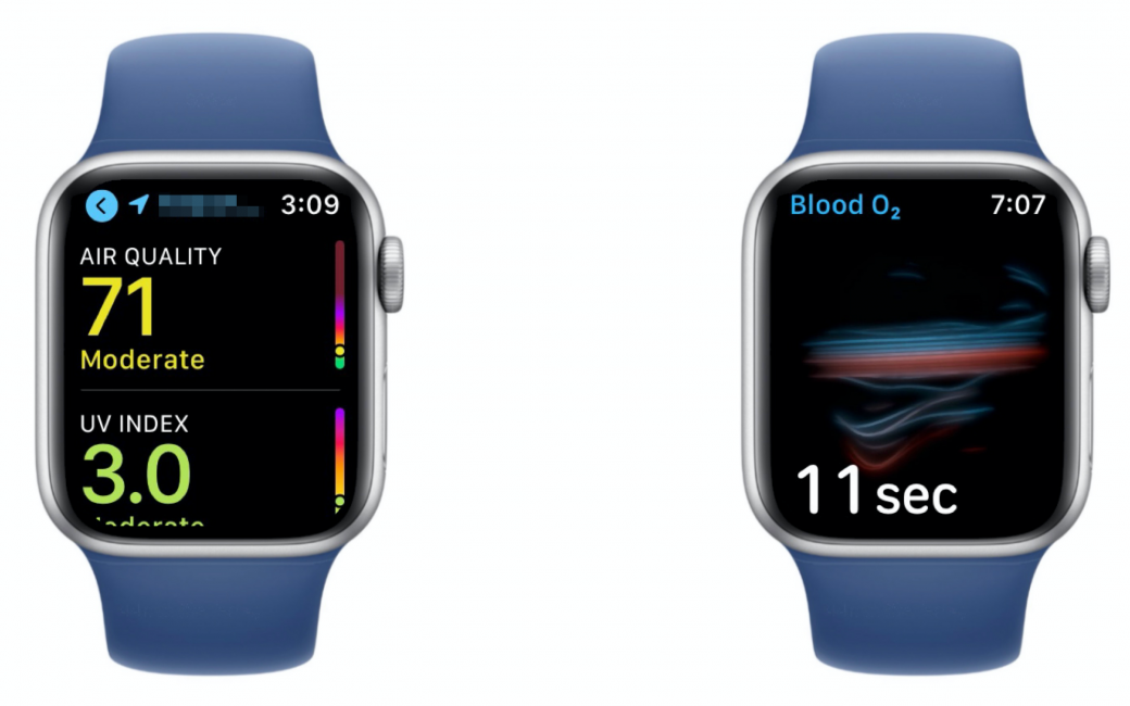 Air Quality UV Index and Blood 02 on 2 Watch Faces