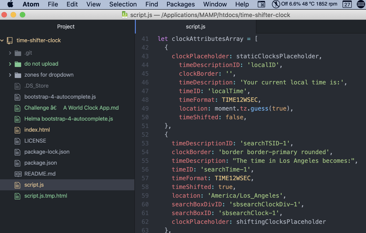 Atom showing project folder and syntax highlighting