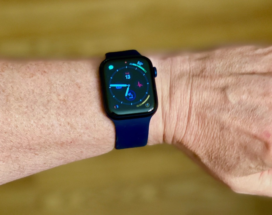 Series 6 with blue solo loop on his wrist