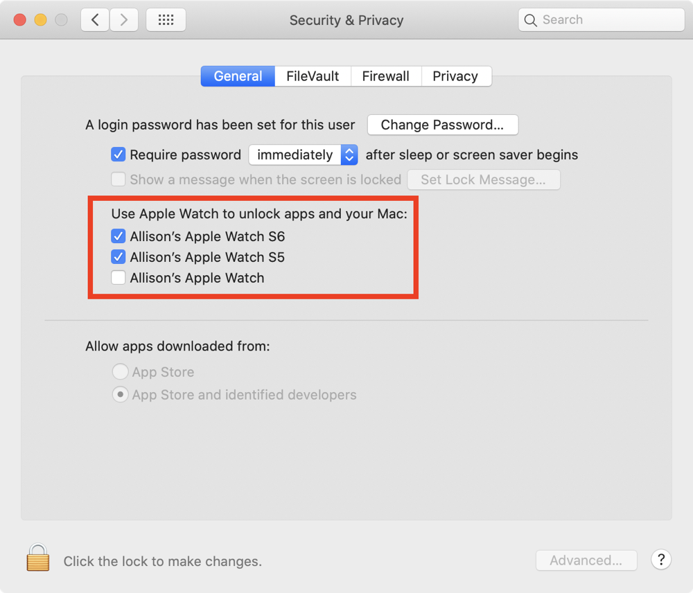 Security & Privacy System Preferences to Unlock with Apple Watch