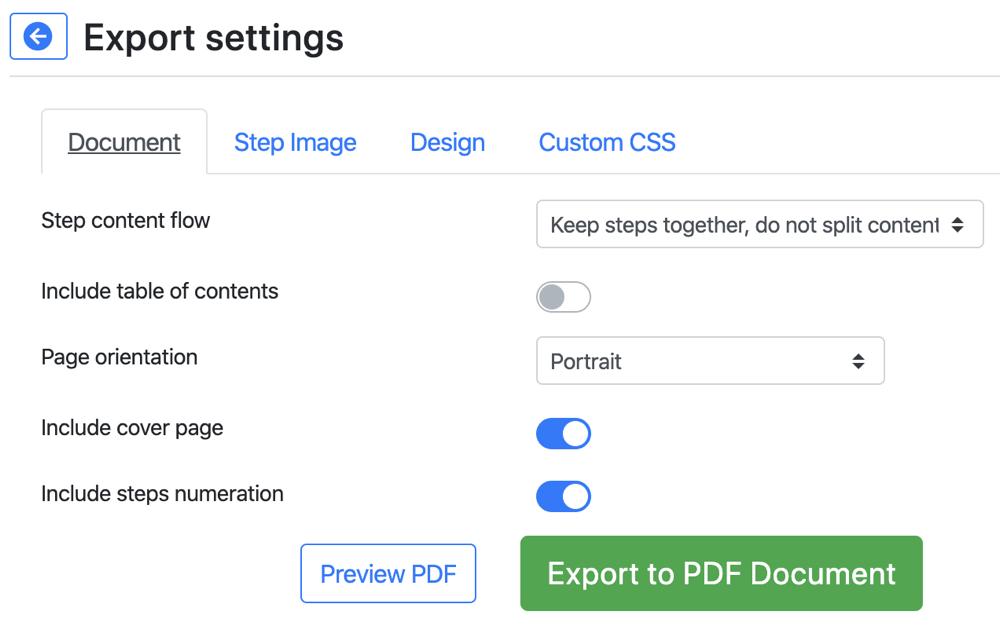 Folge Export Settings Document
