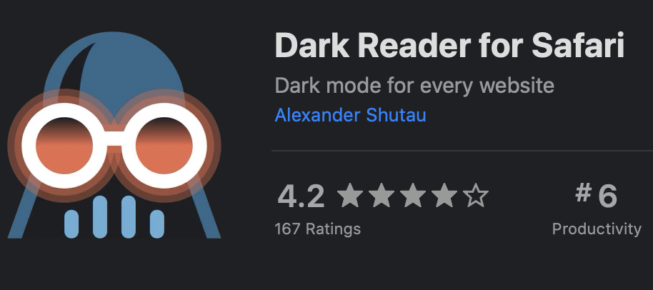 Dark Reader for Safari in the Mac App Store