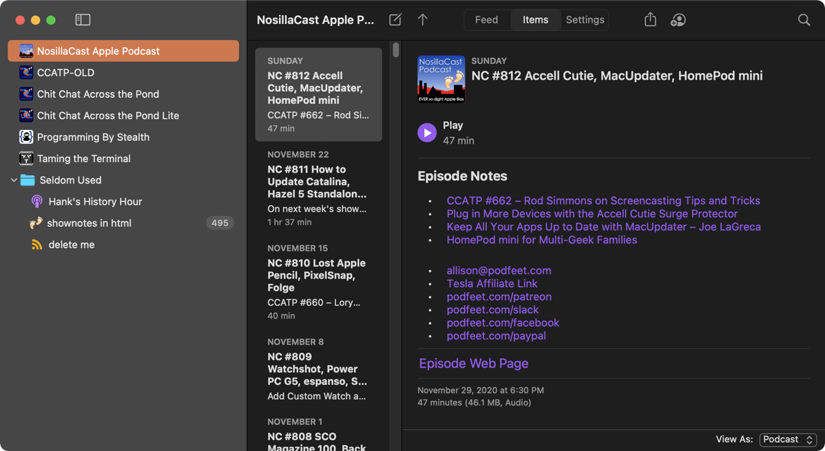 NosillaCast in Feeder 4 with View As Podcast