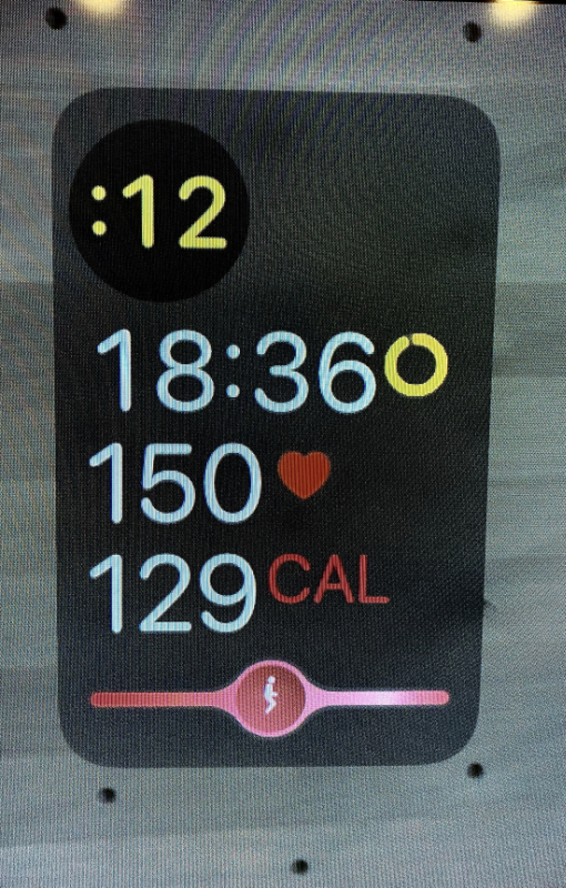 metrics show interval clock, time left in workout, heart rate and calorie burn
